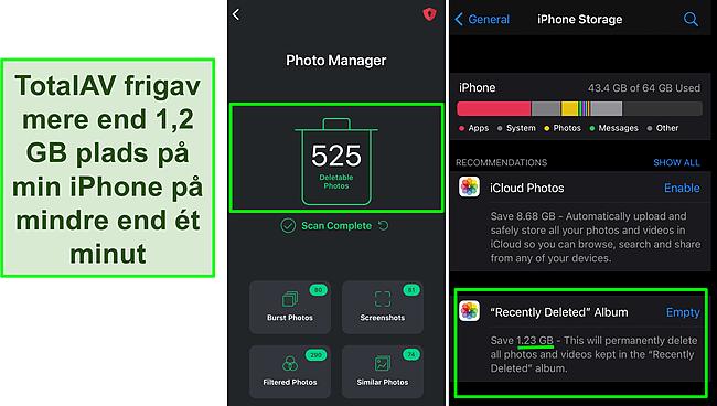 Skærmbillede af TotalAVs Photo Manager og iPhone -lagring, der viser over 1,2 GB ledig plads.