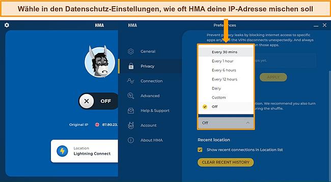 Screenshot der IP Shuffle-Einstellungen der HMA Windows-App