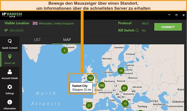 Screenshot der IPVanish-App mit britischen Servern, die auf der Kartenoberfläche hervorgehoben sind