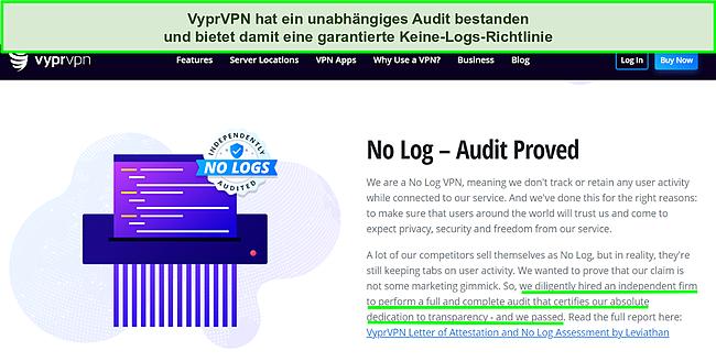 Screenshot der Website von VyprVPN, auf der das unabhängige Audit und das Ergebnis des Bestehens aufgeführt sind