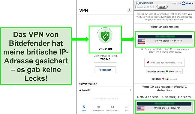 Screenshot mit der iOS-VPN-Funktion von Bitdefender und den Ergebnissen eines IP-Lecktests, der keine Lecks zeigt.