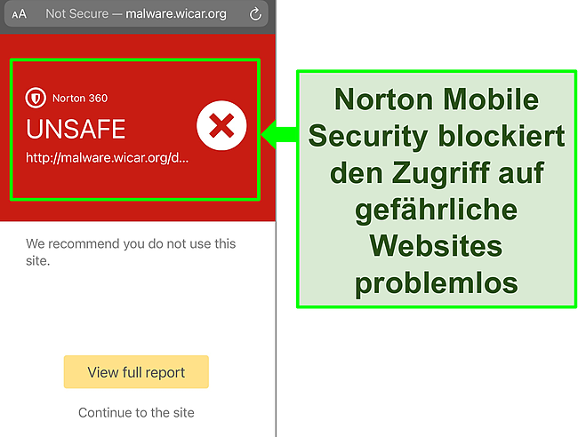Screenshot von Nortons Mobile Security iOS-App, die den Zugriff auf eine bösartige Testwebsite blockiert.