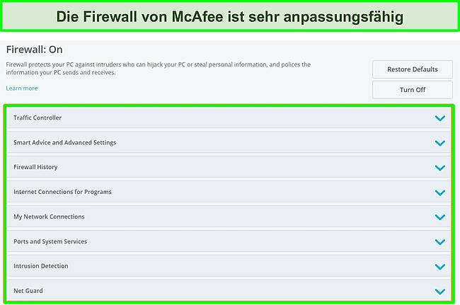 Screenshot der McAfee-Firewall.