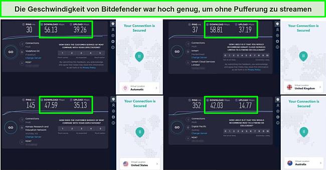 Screenshot des VPN von Bitdefender, das mit verschiedenen Servern verbunden ist, und die Ergebnisse von Ookla-Geschwindigkeitstests.