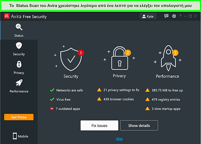 Στιγμιότυπο οθόνης της εφαρμογής της Avira για Windows με τα αποτελέσματα μιας σάρωσης κατάστασης που εμφανίζονται.