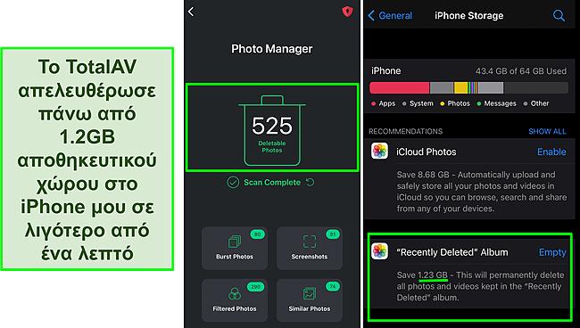Στιγμιότυπο οθόνης του Διαχειριστή φωτογραφιών της TotalAV και του χώρου αποθήκευσης iPhone που δείχνει πάνω από 1,2 GB ελεύθερου χώρου.