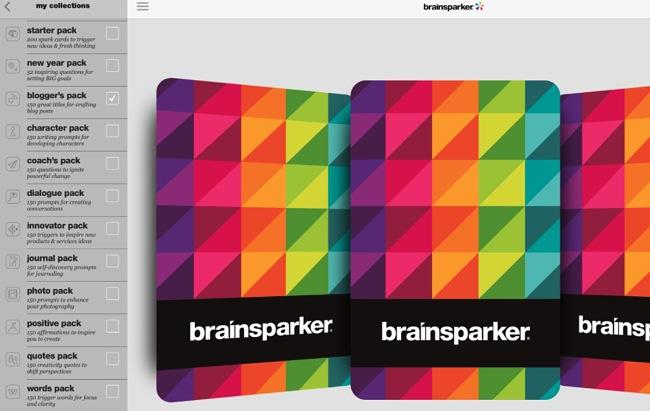 Screenshot of the Brainsparker Creativity Cards app.