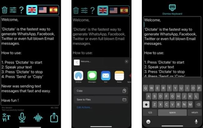 Screenshots of the Dictation app.