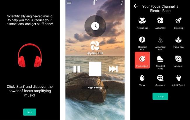 Screenshots of the Focus@Will app.