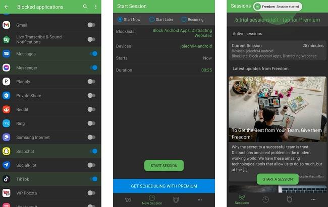 Screenshots of the Freedom app.