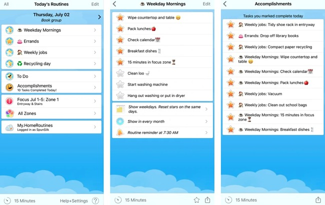 Screenshots of the Home Routines app.