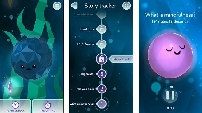 Screenshots of the Mindful Powers app.