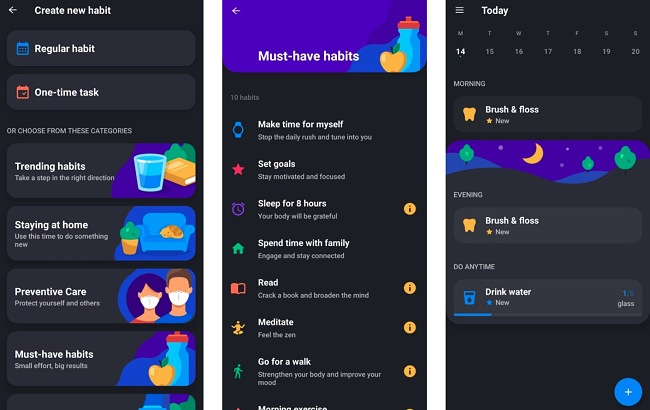 Screenshots of the Productive Habit Tracker app.
