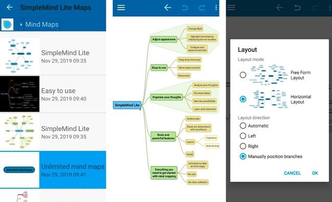 Screenshots of the SimpleMind Lite app.