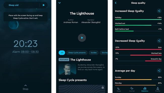 Screenshots of the Sleep Cycle app.