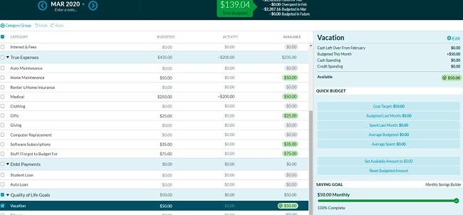 Screenshot of the YNAB app.