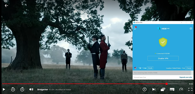 Screenshot of Hide.me unblocking Netflix