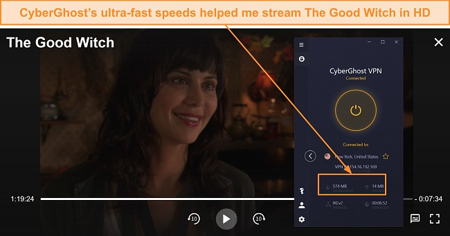 Screenshot of The Good Witch streaming through Hallmark Movies Now using CyberGhost.