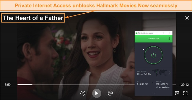Screenshot of When Calls the Heart streaming through Hallmark Movies Now using Private Internet Access.