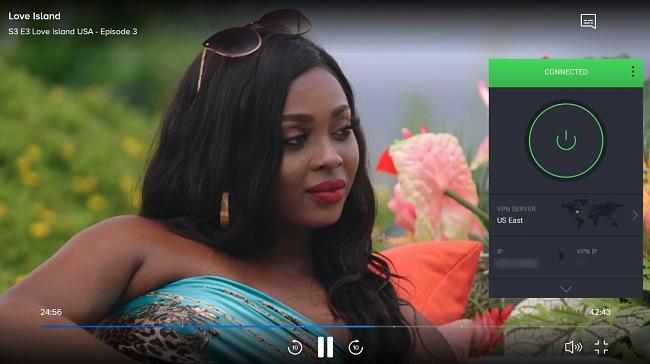 Screenshot of PIA unblocking Love Island USA on CBS