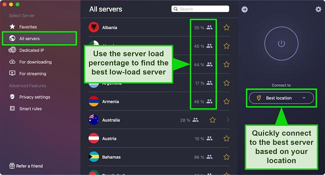 Screenshot of CyberGhost App on Mac Desktop