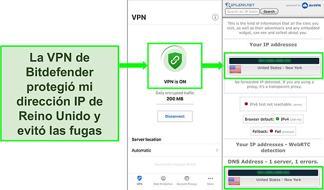 Captura de pantalla que muestra la función VPN de iOS de Bitdefender y los resultados de una prueba de fugas de IP que no muestran fugas.
