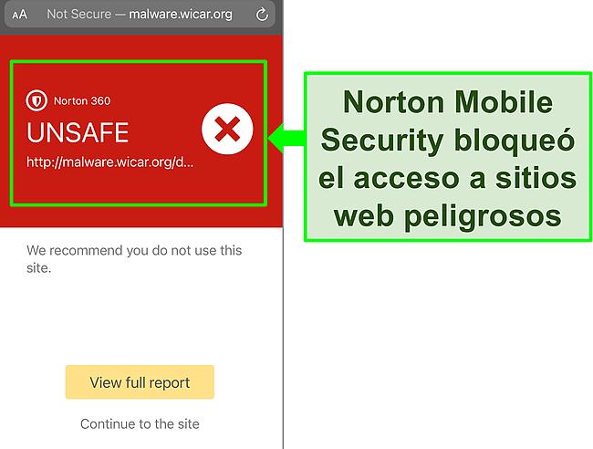 Captura de pantalla de la aplicación iOS de Norton Mobile Security que funciona para bloquear el acceso a un sitio web de prueba malicioso.
