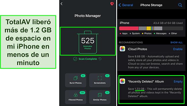 Captura de pantalla del Photo Manager de TotalAV y el almacenamiento del iPhone que muestra más de 1,2 GB de espacio libre.