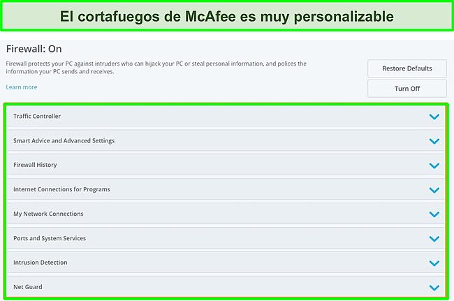 Captura de pantalla del firewall de McAfee.