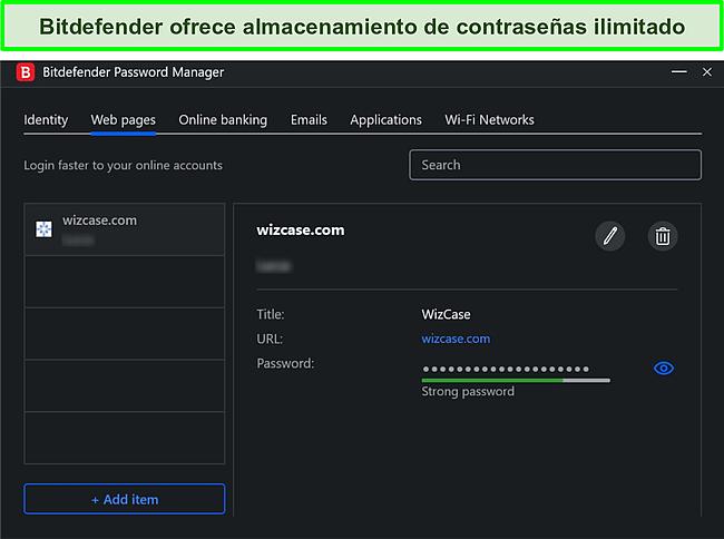 Captura de pantalla del administrador de contraseñas de Bitdefender.