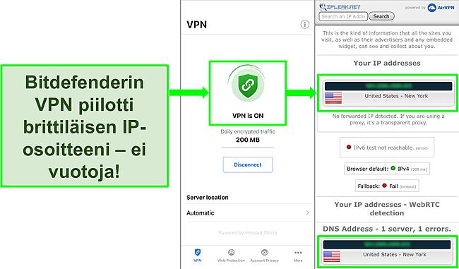 Kuvakaappaus, joka näyttää Bitdefenderin iOS VPN -ominaisuuden ja IP -vuototestin tulokset, jotka eivät osoita vuotoja.
