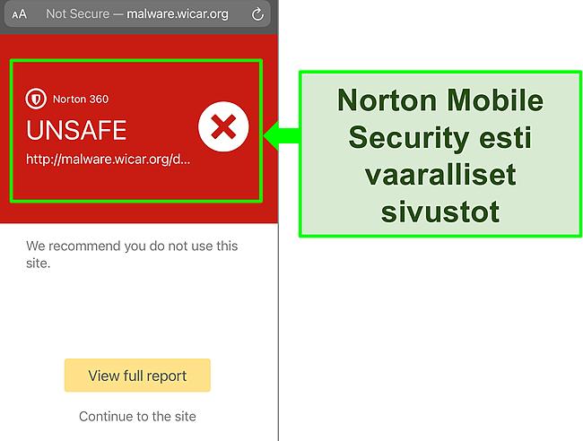 Kuvakaappaus Nortonin Mobile Security iOS -sovelluksesta, joka estää pääsyn haitalliselle testisivustolle.