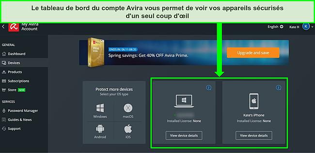 Capture d'écran du tableau de bord du compte Avira montrant les appareils avec le forfait gratuit installé.