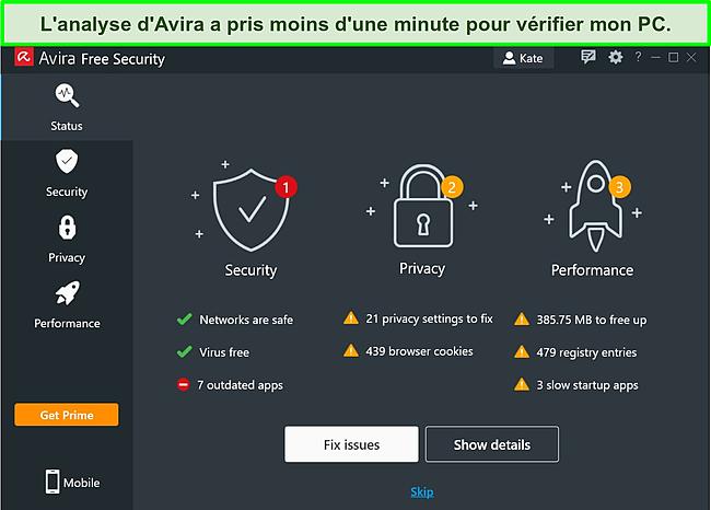 Capture d'écran de l'application Windows d'Avira avec les résultats d'une analyse d'état affichés.