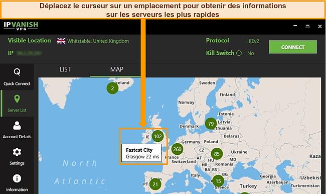 Capture d'écran de l'application IPVanish avec les serveurs britanniques mis en évidence sur l'interface de la carte