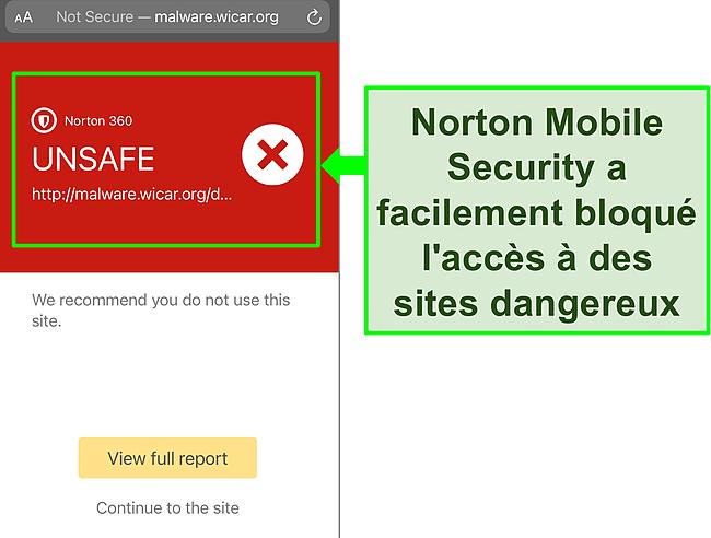 Capture d'écran de l'application iOS Mobile Security de Norton qui bloque l'accès à un site Web de test malveillant.