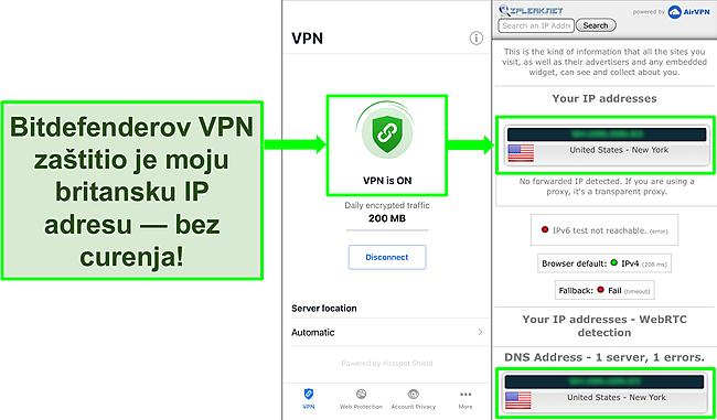 Snimka zaslona koja prikazuje Bitdefenderovu iOS VPN značajku i rezultati testa propuštanja IP -a koji ne pokazuju curenja.