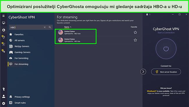 Snimka zaslona povezivanja s Cyberghost poslužiteljem optimiziranim za streaming HBO-a