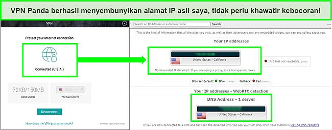 Tangkapan layar VPN Panda yang terhubung ke server AS dengan hasil uji kebocoran IP yang menunjukkan tidak ada kebocoran.