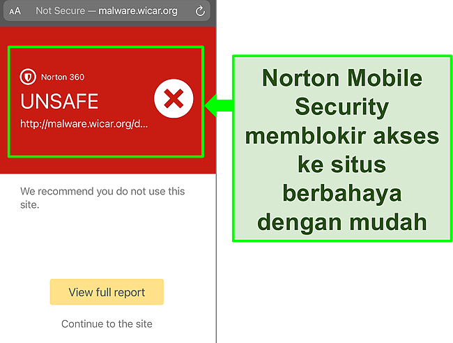 Tangkapan layar aplikasi iOS Mobile Security Norton yang berfungsi memblokir akses ke situs web pengujian berbahaya.