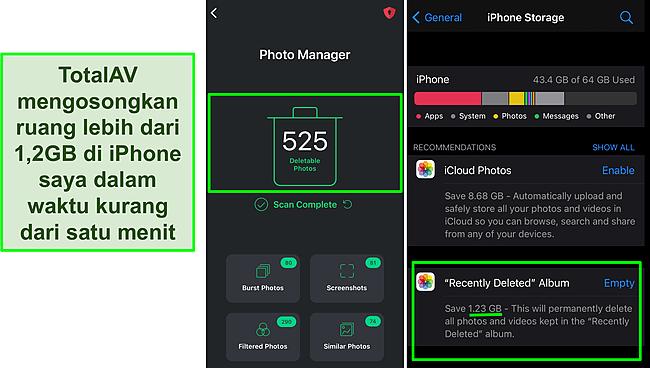 Tangkapan layar Pengelola Foto TotalAV dan penyimpanan iPhone menunjukkan lebih dari 1,2 GB ruang kosong.