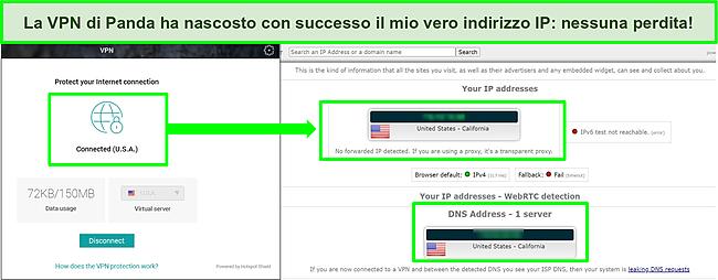 Screenshot della VPN di Panda connessa a un server statunitense con i risultati di un test di tenuta IP che non mostra perdite.