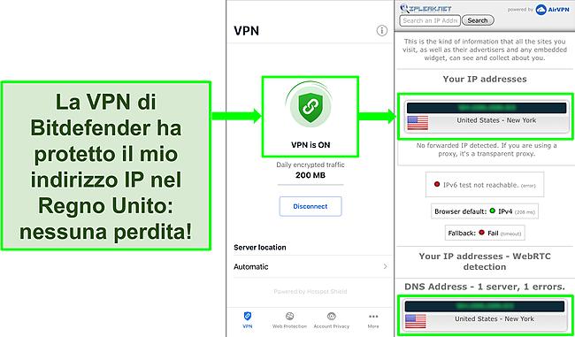 Screenshot che mostra la funzione VPN iOS di Bitdefender e i risultati di un test di tenuta IP che non mostra perdite.