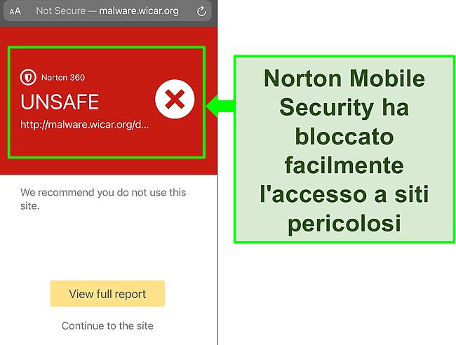 Screenshot dell'app iOS di Norton Mobile Security che blocca l'accesso a un sito Web di test dannoso.