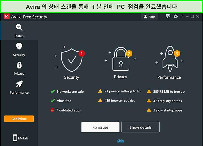 상태 검사 결과가 표시된 Avira의 Windows 앱 스크린샷.