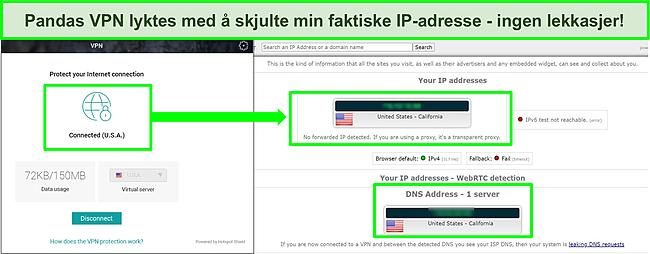 Skjermbilde av Pandas VPN koblet til en amerikansk server med resultatene av en IP -lekkasjetest som ikke viser noen lekkasjer.