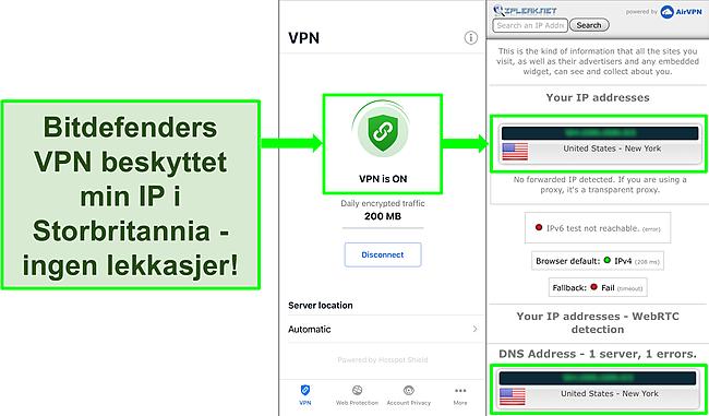 Skjermbilde som viser Bitdefenders iOS VPN -funksjon og resultatene av en IP -lekkasjetest som viser ingen lekkasjer.