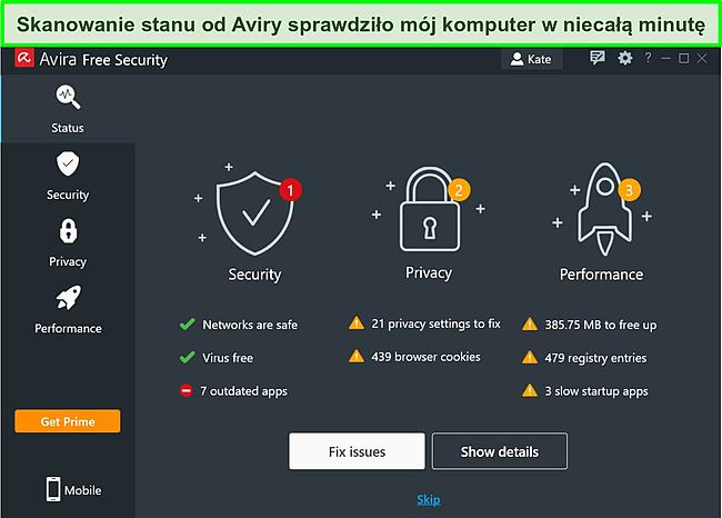 Zrzut ekranu aplikacji Avira dla systemu Windows z wyświetlonymi wynikami skanowania stanu.