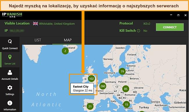 Zrzut ekranu aplikacji IPVanish z serwerami w Wielkiej Brytanii podświetlonymi na interfejsie mapy
