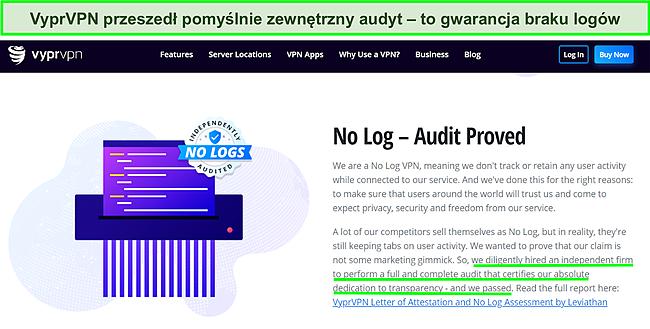 Zrzut ekranu strony internetowej VyprVPN z wyszczególnieniem niezależnego audytu i wyniku przejścia pass